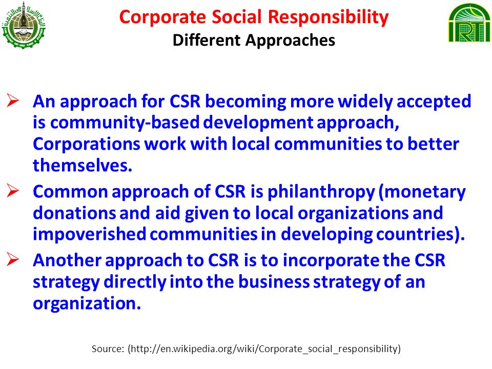 corporate approaches to responsible business Learn about microsoft's annual communication on progress under the un global compact find out how we're meeting our corporate social responsibility commitments.
