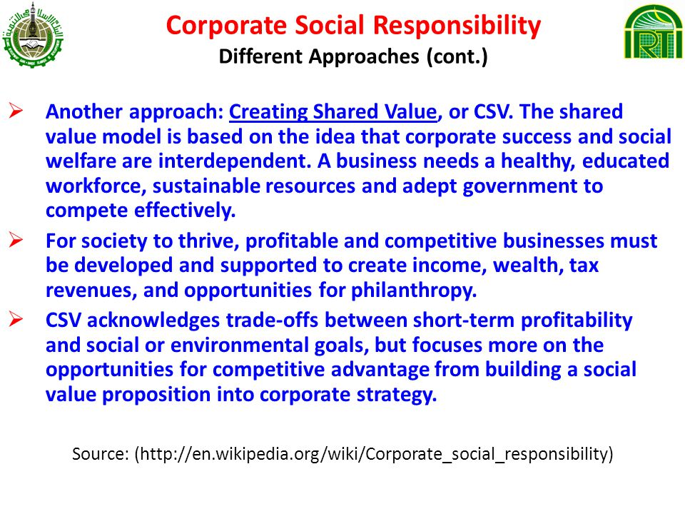 Corporate Social Responsibility Different Approaches (cont.)
