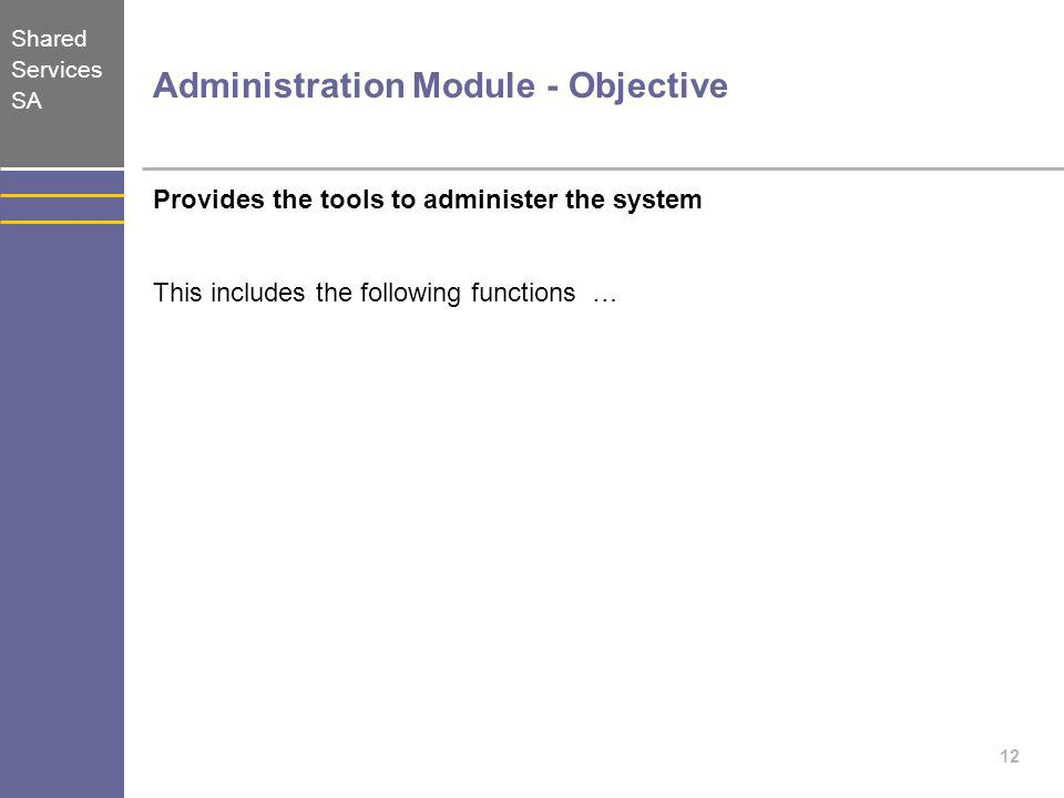 Administration Module - Objective