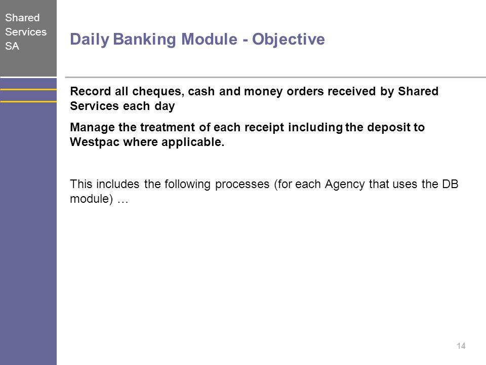Daily Banking Module - Objective