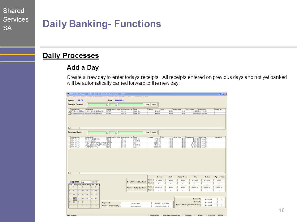 Daily Banking- Functions