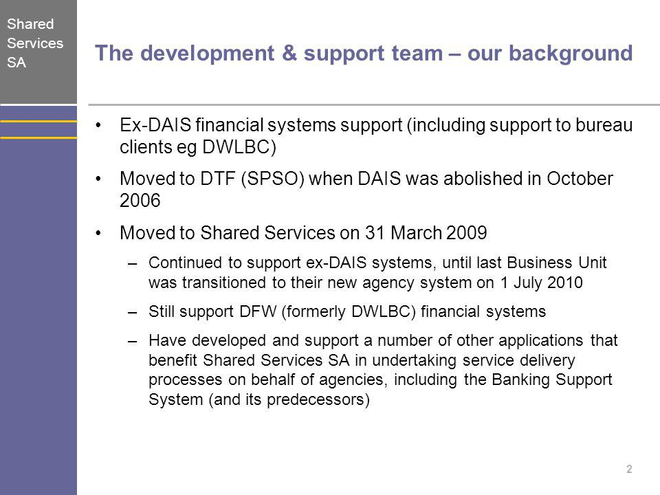 The development & support team – our background