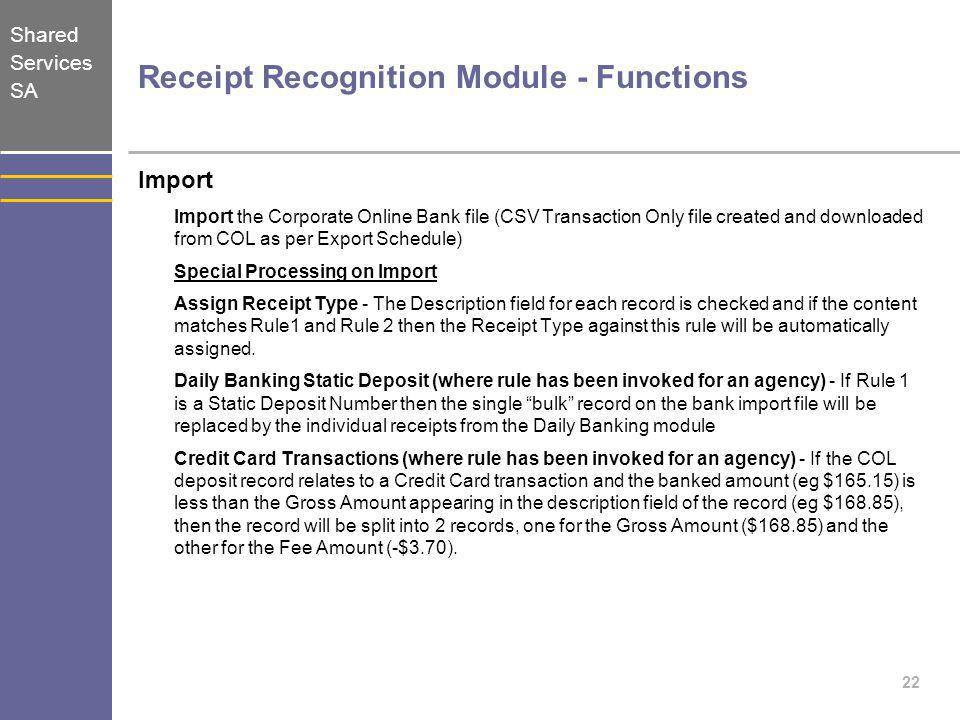 Receipt Recognition Module - Functions