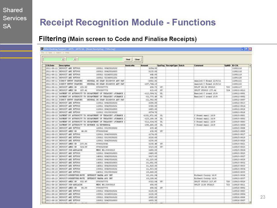 Receipt Recognition Module - Functions