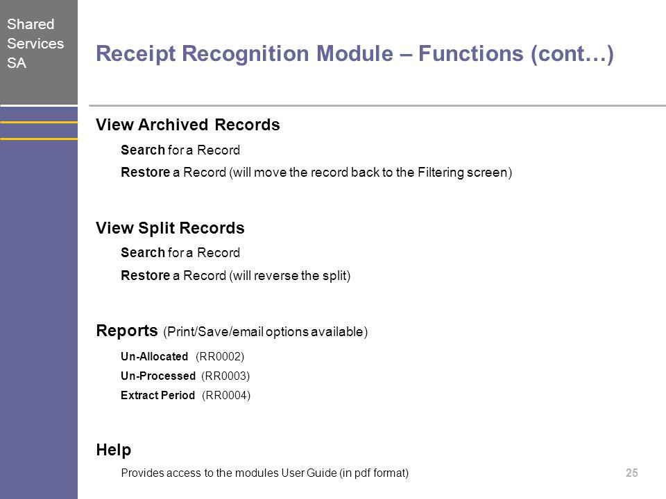 Receipt Recognition Module – Functions (cont…)