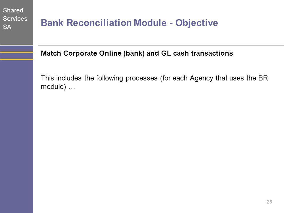 Bank Reconciliation Module - Objective