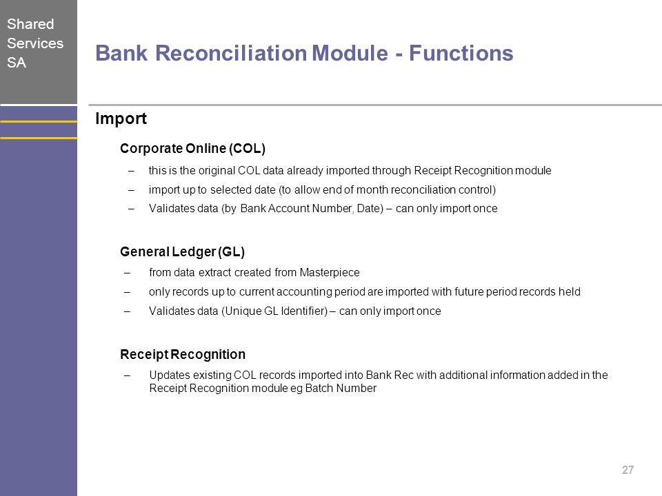 Bank Reconciliation Module - Functions