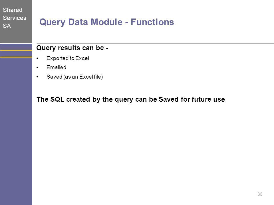 Query Data Module - Functions