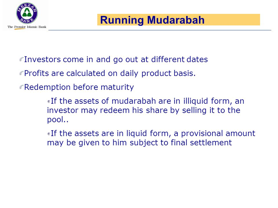Running Mudarabah Investors come in and go out at different dates
