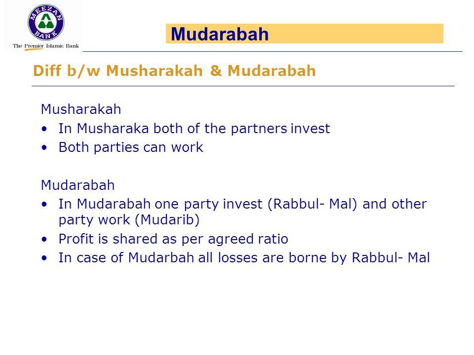 Mudarabah Diff b/w Musharakah & Mudarabah Musharakah