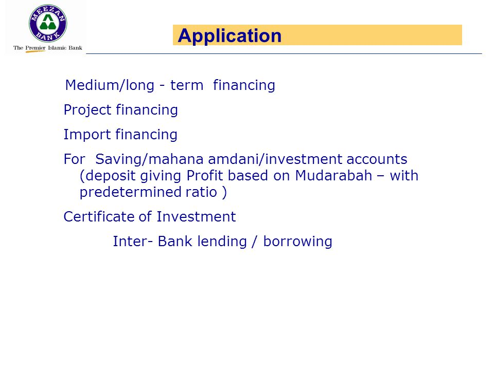Application Project financing Import financing
