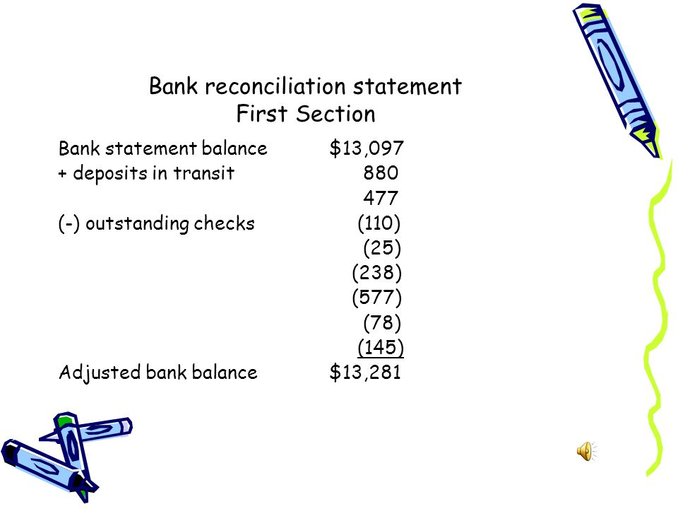 Bank reconciliation statement First Section