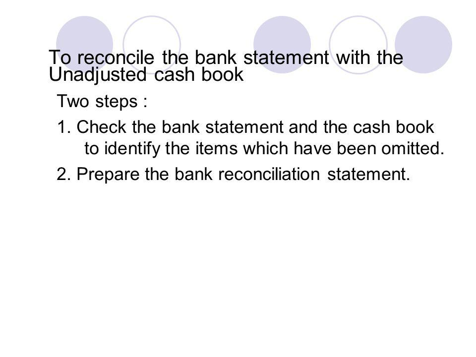 To reconcile the bank statement with the Unadjusted cash book