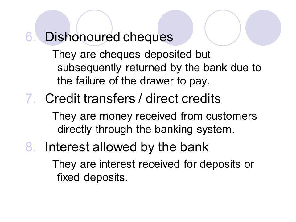 Credit transfers / direct credits