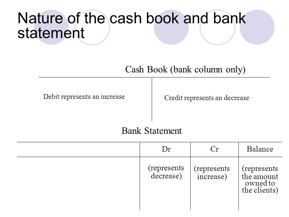 Nature of the cash book and bank statement