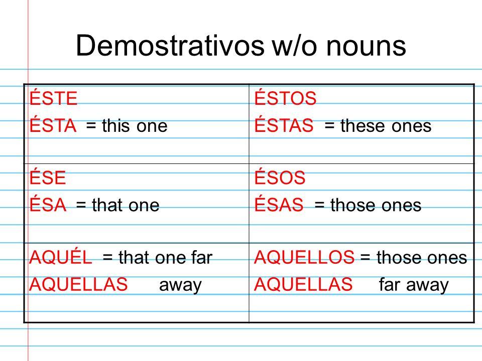 Demostrativos w/o nouns
