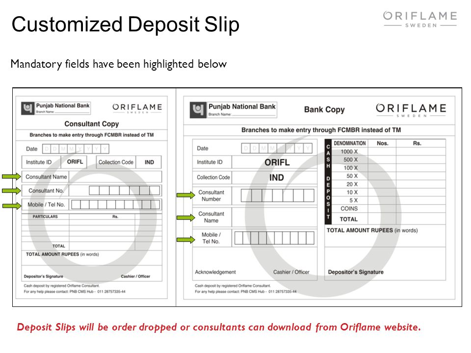 Customized Deposit Slip