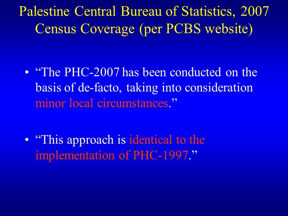 Palestine Central Bureau of Statistics, 2007 Census Coverage (per PCBS website)
