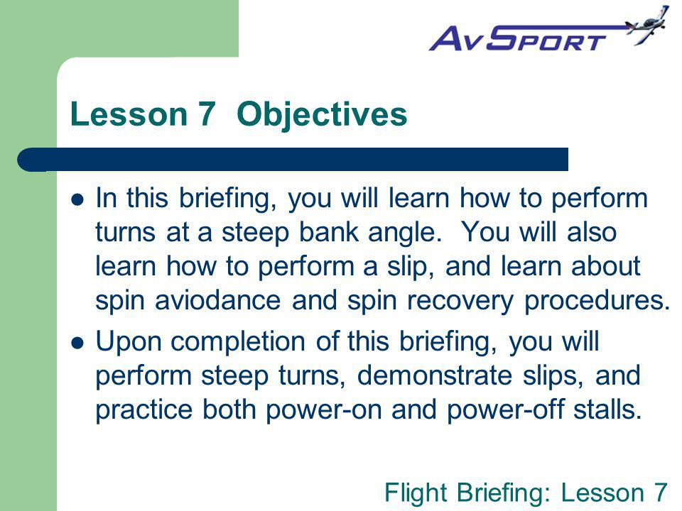 Lesson 7 Objectives