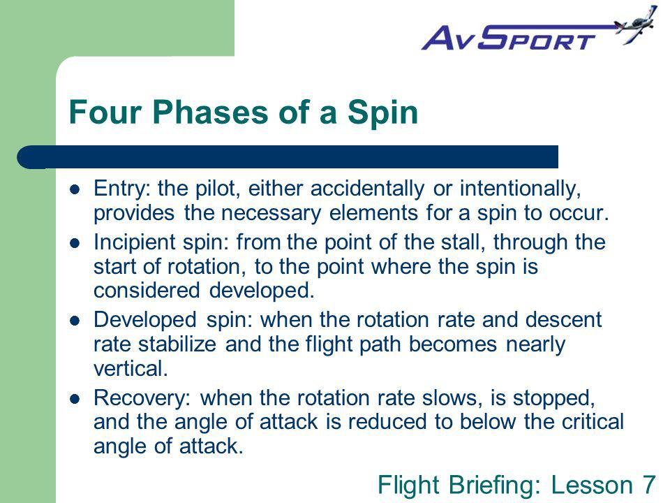 Four Phases of a Spin Entry: the pilot, either accidentally or intentionally, provides the necessary elements for a spin to occur.
