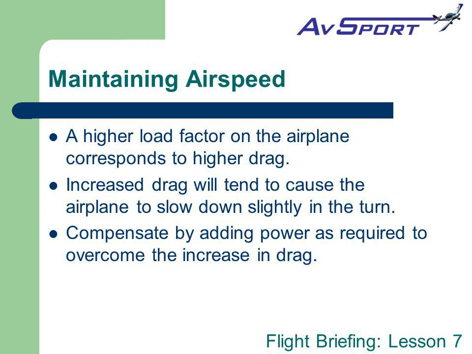 Maintaining Airspeed A higher load factor on the airplane corresponds to higher drag.