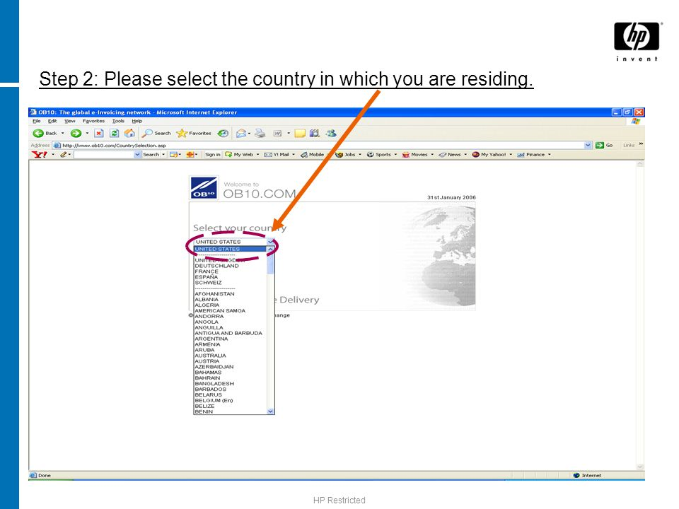 Step 2: Please select the country in which you are residing.