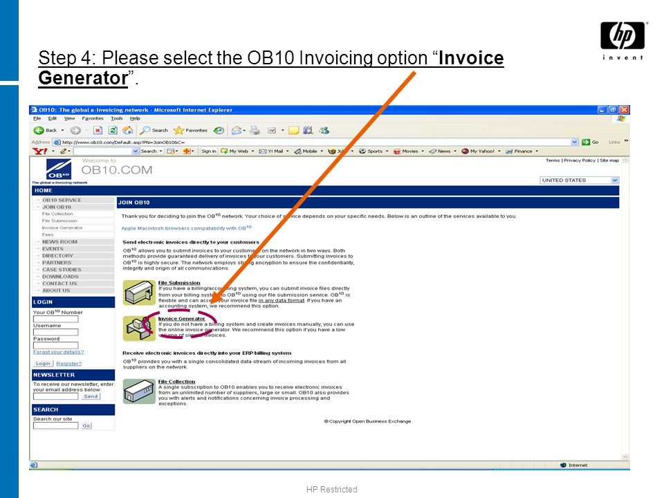 Step 4: Please select the OB10 Invoicing option Invoice Generator .