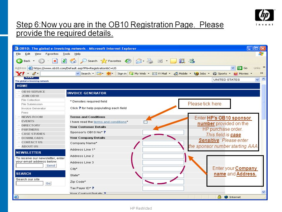 Step 6:Now you are in the OB10 Registration Page