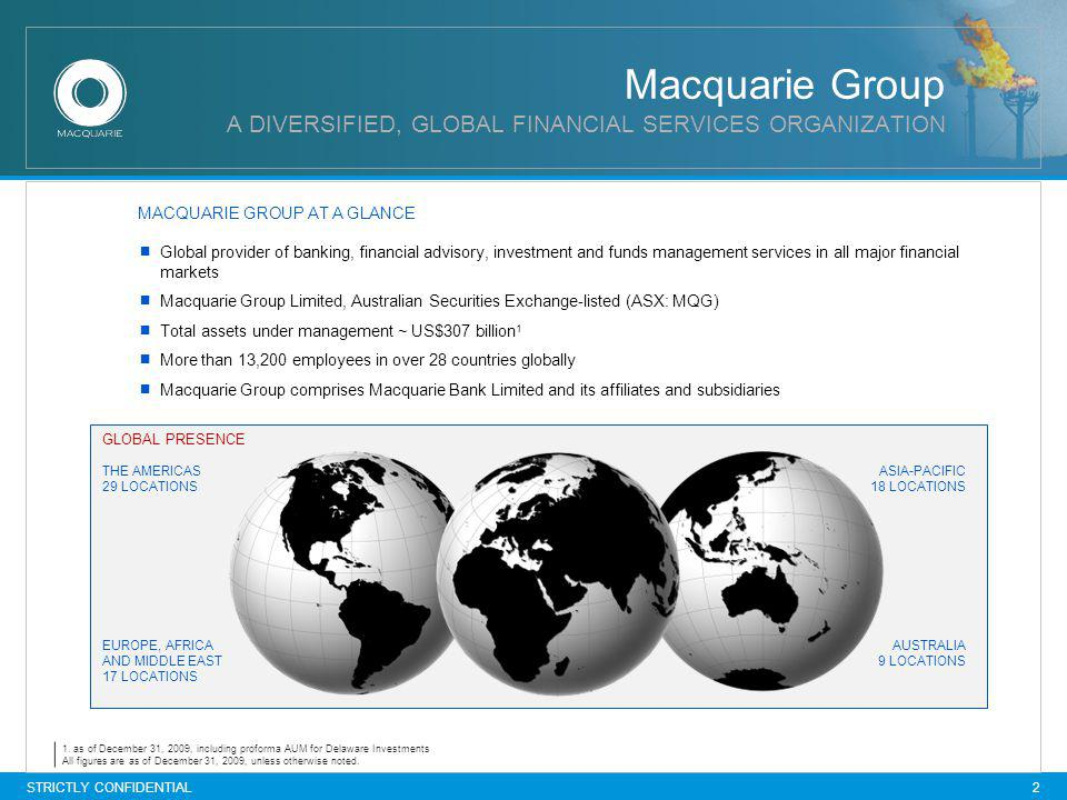 Macquarie Group A DIVERSIFIED, GLOBAL FINANCIAL SERVICES ORGANIZATION