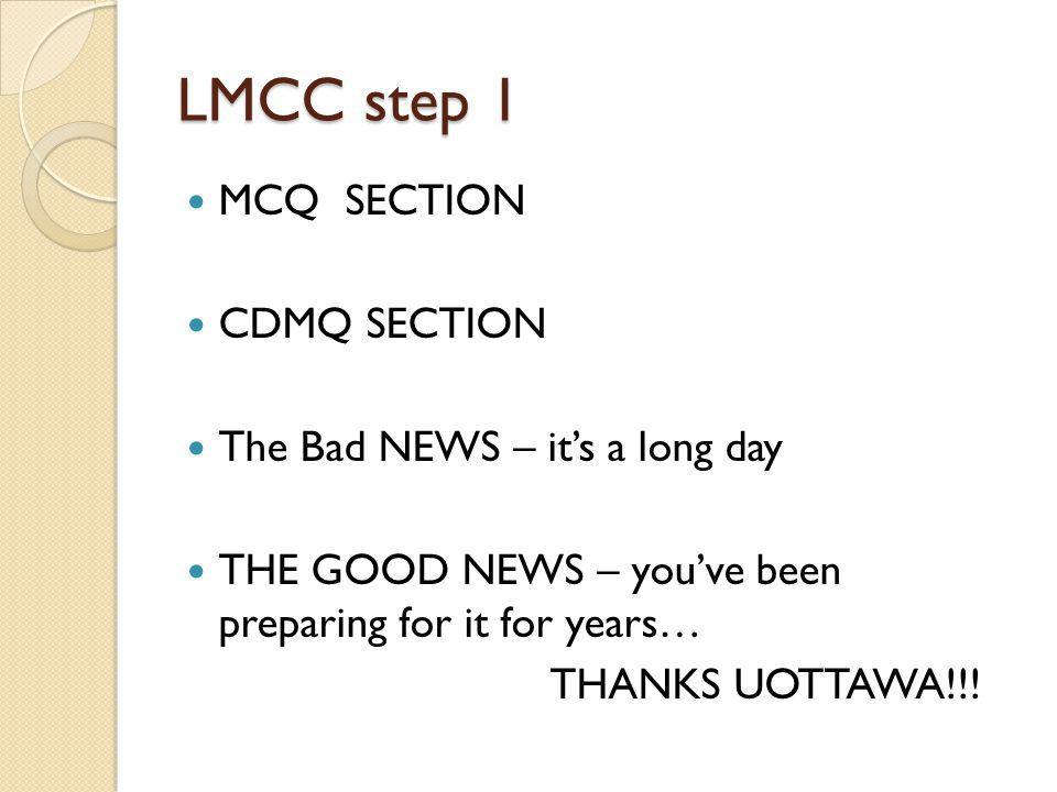 LMCC step 1 MCQ SECTION CDMQ SECTION The Bad NEWS – it's a long day