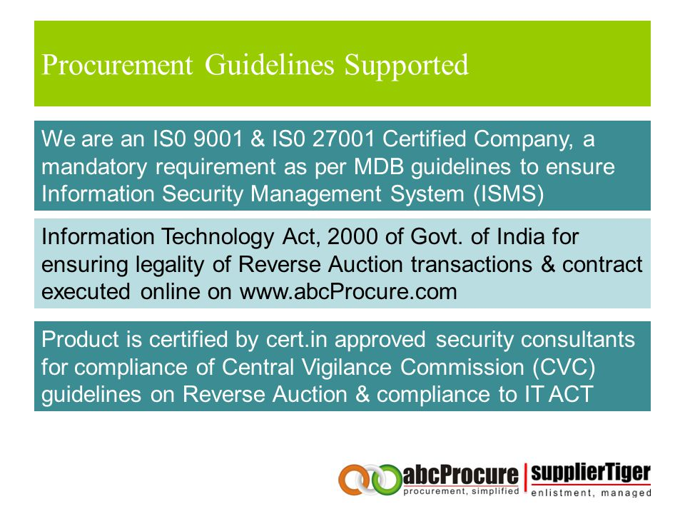 Procurement Guidelines Supported