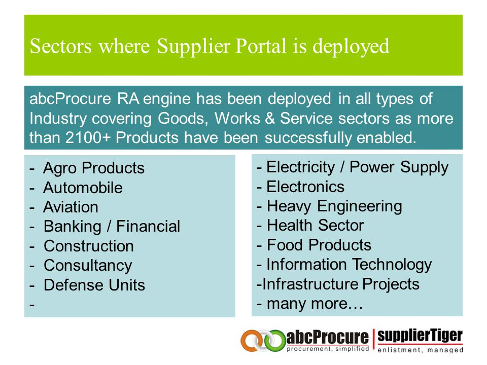 Sectors where Supplier Portal is deployed