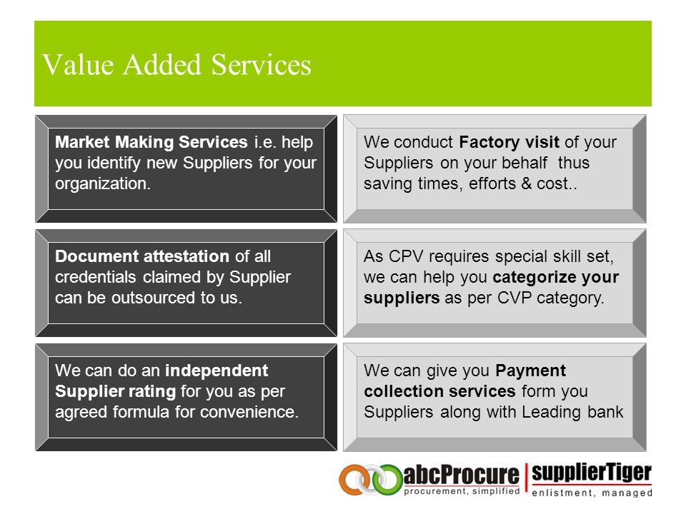 Value Added Services Market Making Services i.e. help you identify new Suppliers for your organization.