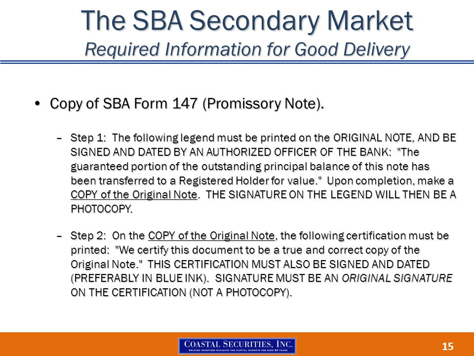 The SBA Secondary Market Required Information for Good Delivery