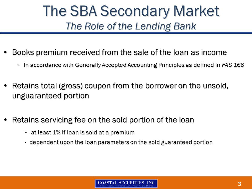 The SBA Secondary Market The Role of the Lending Bank