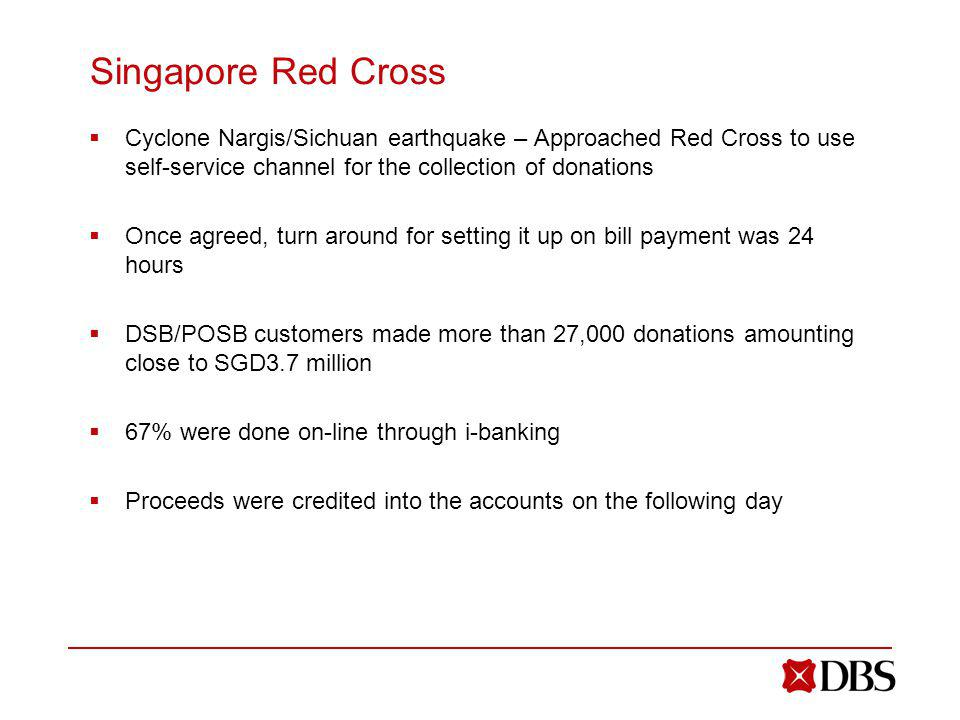Singapore Red Cross Cyclone Nargis/Sichuan earthquake – Approached Red Cross to use self-service channel for the collection of donations.