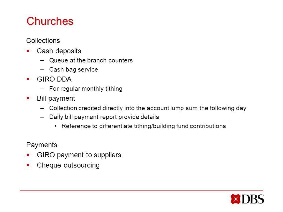 Churches Collections Cash deposits GIRO DDA Bill payment Payments
