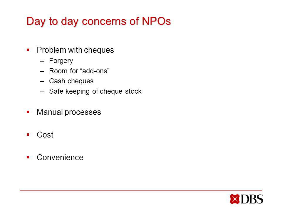 Day to day concerns of NPOs