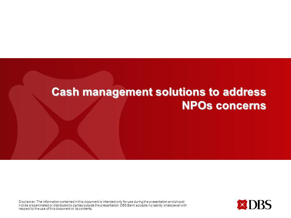 Cash management solutions to address NPOs concerns