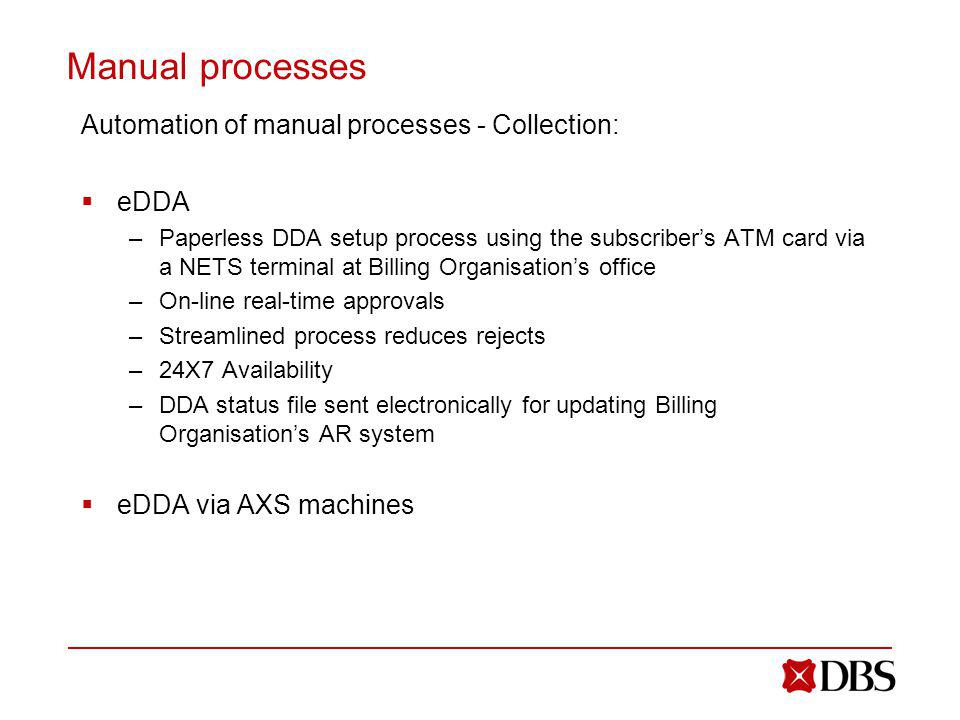 Manual processes Automation of manual processes - Collection: eDDA