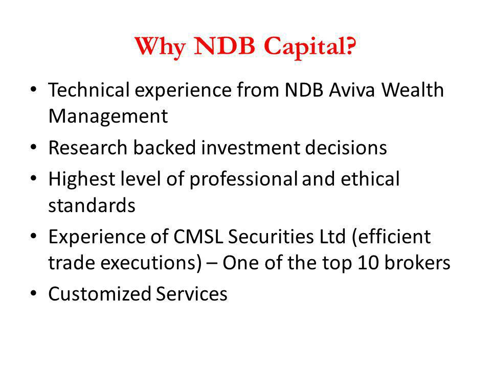 Why NDB Capital Technical experience from NDB Aviva Wealth Management