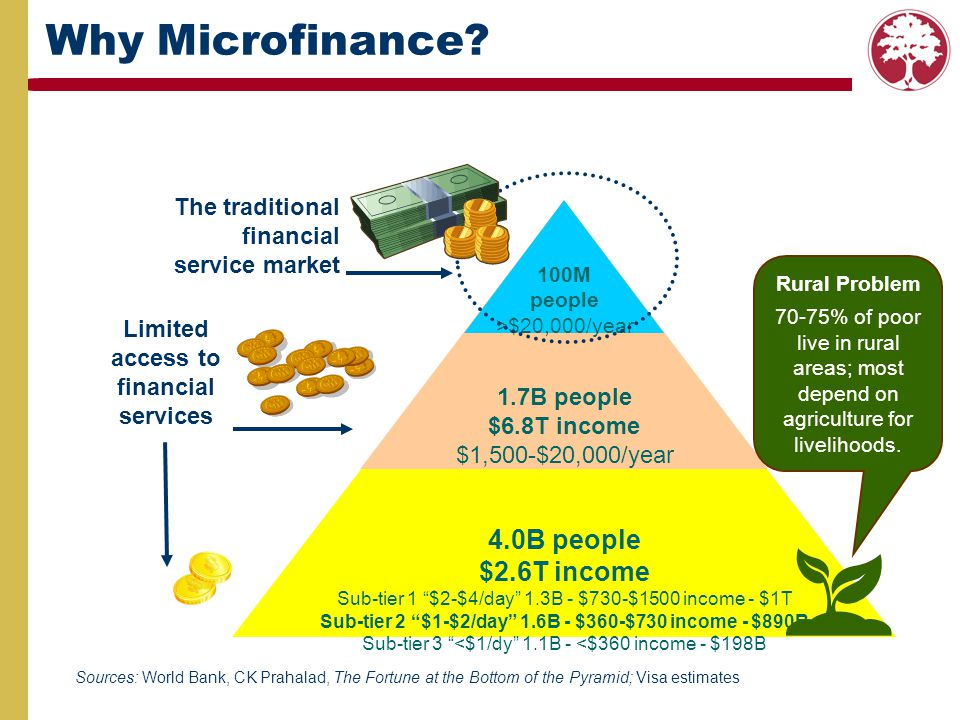 Why Microfinance 4.0B people $2.6T income