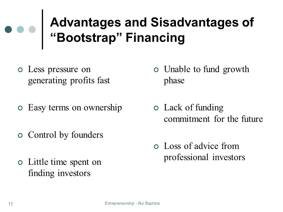 Advantages and Sisadvantages of Bootstrap Financing