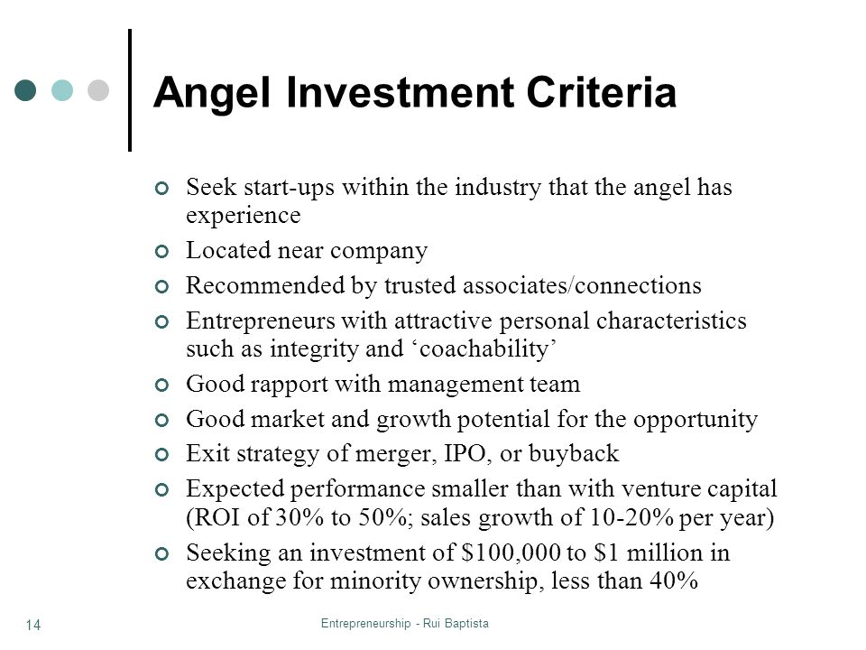 Angel Investment Criteria