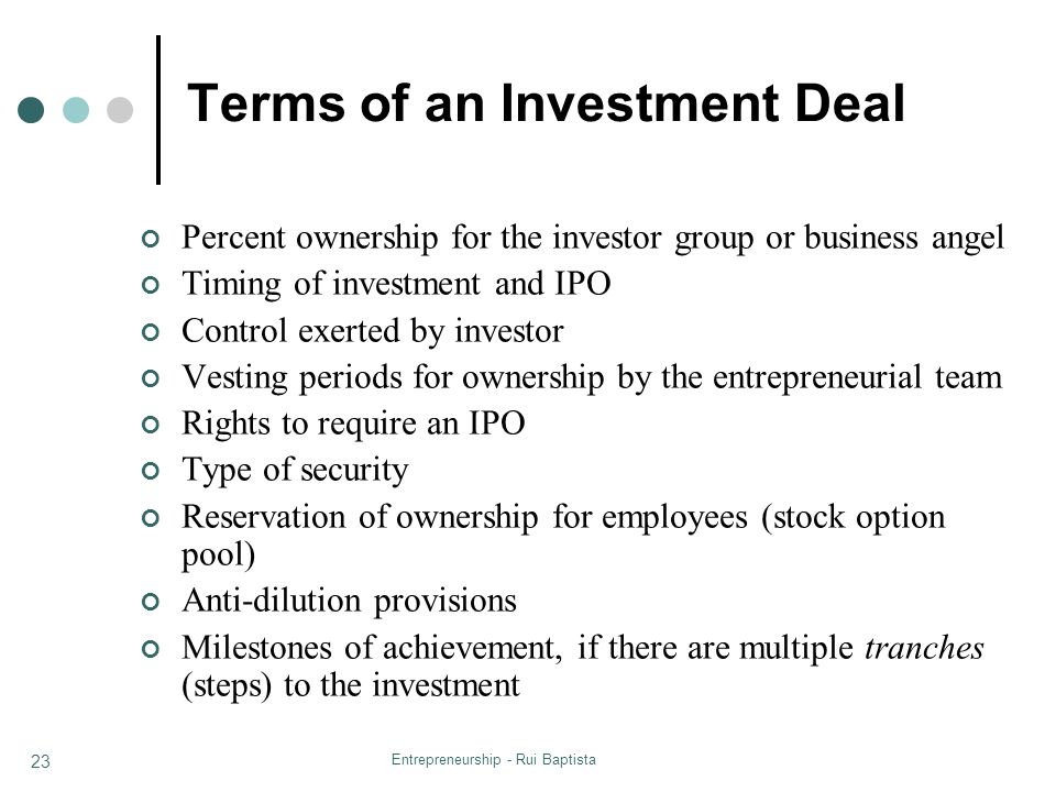 Terms of an Investment Deal