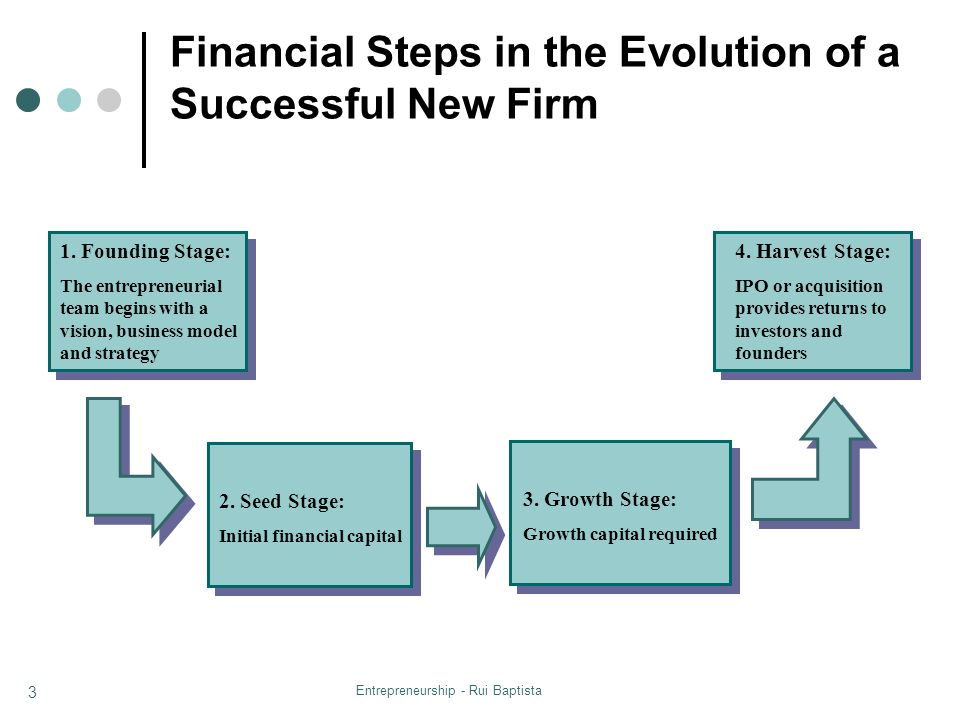 Financial Steps in the Evolution of a Successful New Firm