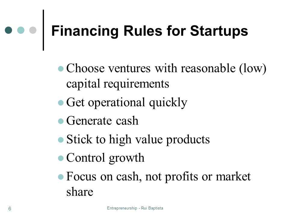 Financing Rules for Startups