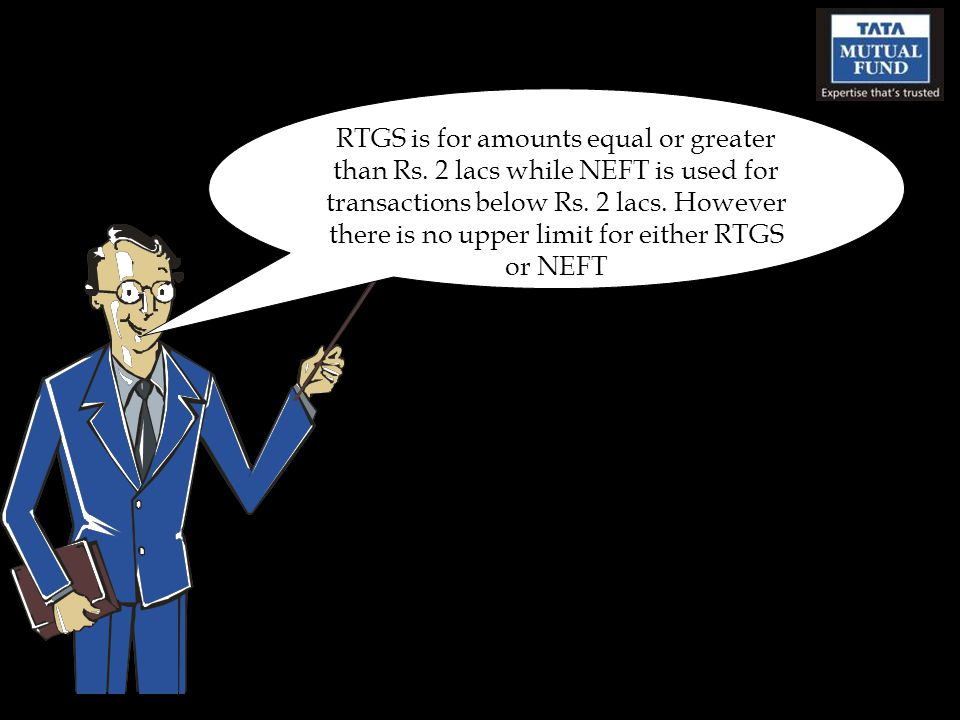 RTGS is for amounts equal or greater than Rs