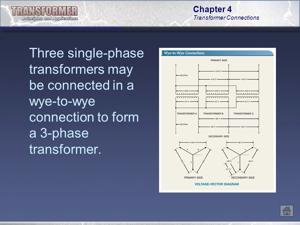 Three single-phase transformers may be connected in a wye-to-wye connection to form a 3-phase transformer.