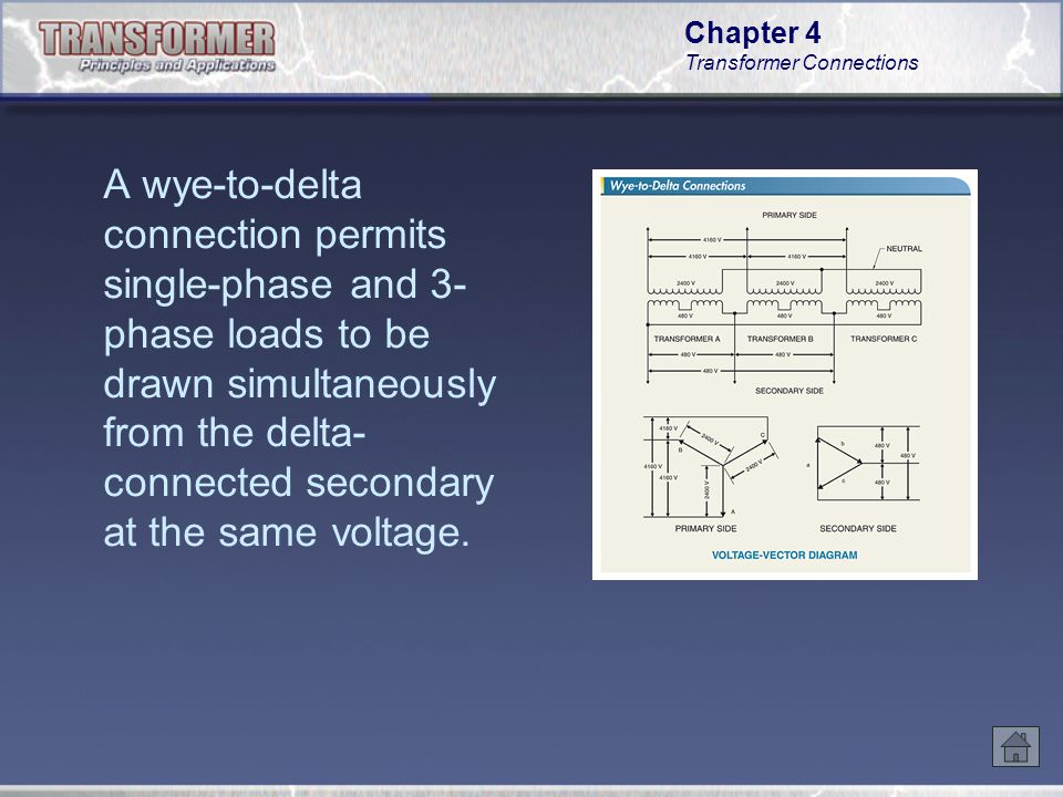 A wye-to-delta connection permits single-phase and 3-phase loads to be drawn simultaneously from the delta-connected secondary at the same voltage.